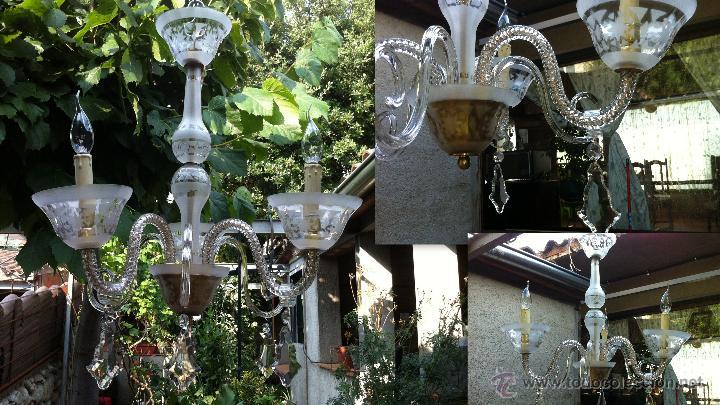 LÁMPARA DE TECHO MUY ANTIGUA DE CRISTALES Y BRONCE (Vintage - Lámparas, Apliques, Candelabros y Faroles)