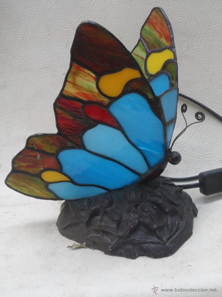 LAMPARA VINTAGE MARIPOSA MUY BONITA ESTILO TIFFANY (Vintage - Lámparas, Apliques, Candelabros y Faroles)