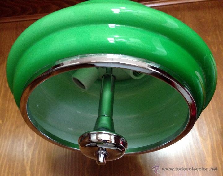 Vintage: Lámpara de techo / cocina años 70 opalina verde Hermanos Gianelli - Foto 2 - 39834946