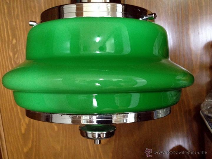 Vintage: Lámpara de techo / cocina años 70 opalina verde Hermanos Gianelli - Foto 6 - 39834946
