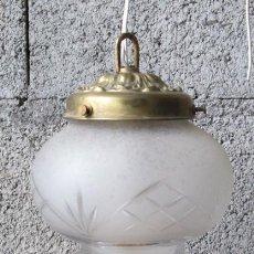 Vintage: LAMPARA – TULIPA TECHO - DE CRISTAL PLAFON LATÓN. Lote 39917475