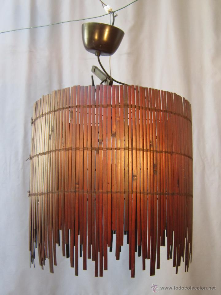Vintage: LAMPARA DE TECHO CON CAÑAS DE BAMBU - Foto 2 - 40168231
