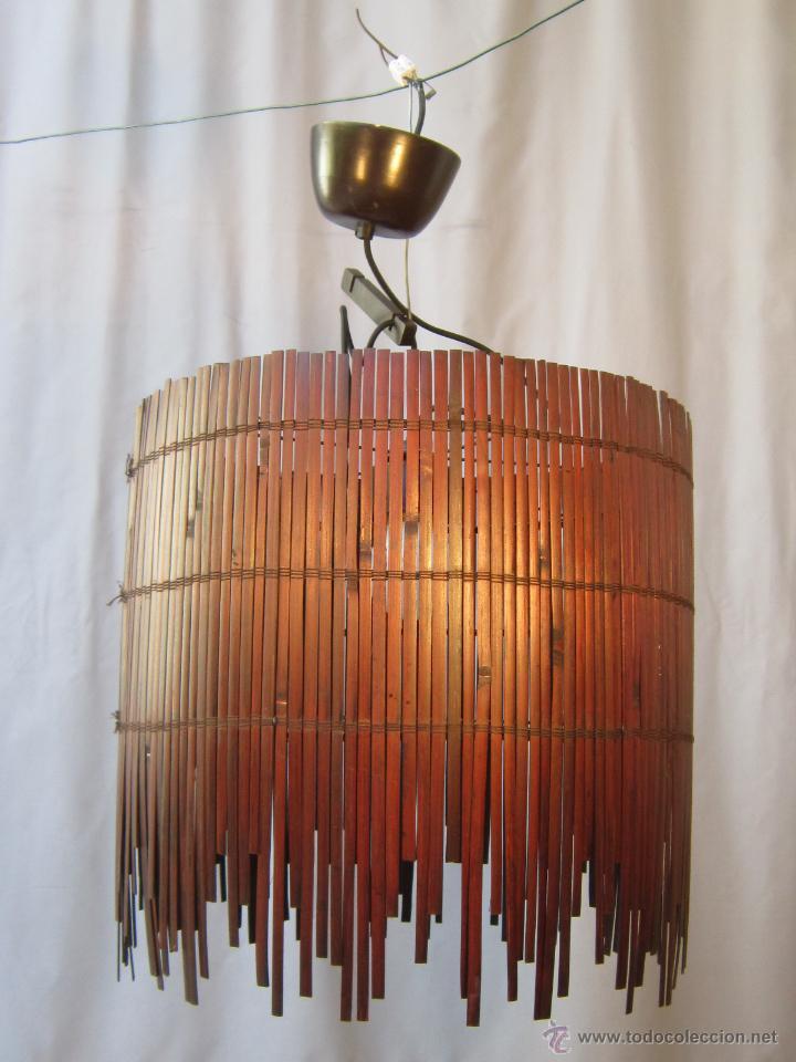 Vintage: LAMPARA DE TECHO CON CAÑAS DE BAMBU - Foto 8 - 40168231