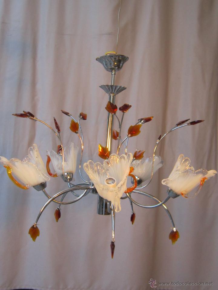 LAMPARA DE TECHO EN METAL CON TULIPAS Y HOJAS DE CRISTAL (Vintage - Lámparas, Apliques, Candelabros y Faroles)