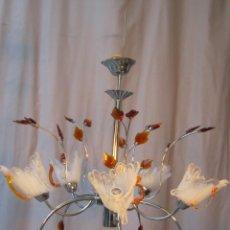 Vintage: LAMPARA DE TECHO EN METAL CON TULIPAS Y HOJAS DE CRISTAL. Lote 40391300