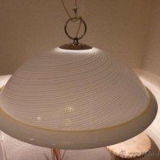 Vintage: LAMPARA DE TECHO CAMPANA MURANO ESTRIADA. Lote 40456284