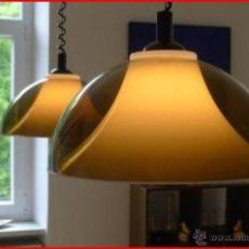 Vintage: LAMPARA TECHO CAMPANA METACRILATO MARRON MARCA STAFF. Lote 40489071