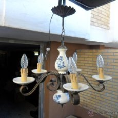 Vintage: LAMPARA DE HIERRO Y CERAMICA. Lote 40732873