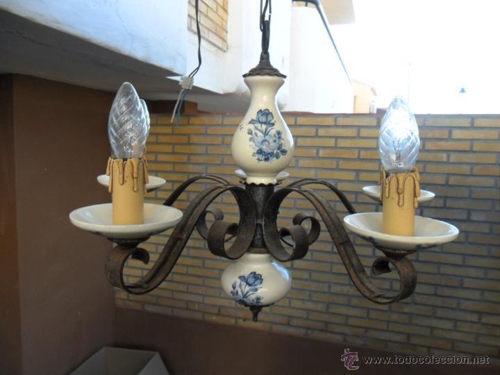 Vintage: lampara de hierro y ceramica - Foto 2 - 40732873
