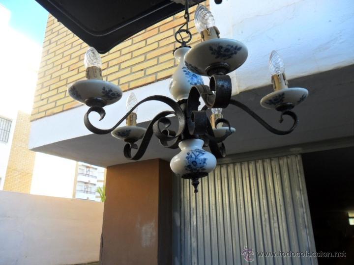 Vintage: lampara de hierro y ceramica - Foto 3 - 40732873