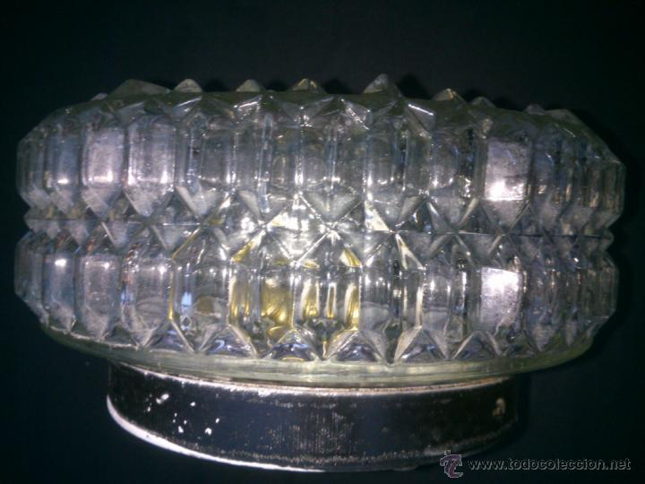 Vintage: Plafón de techo cristal tallado base metal una bombilla DIAMETRO;20CM. alto;11cm - Foto 2 - 40765979