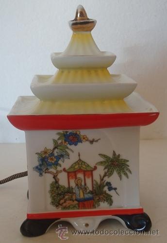 ANTIGUA LÁMPARA DE NOCHE EN PORCELANA ORIENTAL (Vintage - Lámparas, Apliques, Candelabros y Faroles)