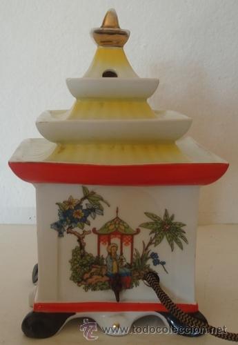 Vintage: ANTIGUA LÁMPARA DE NOCHE EN PORCELANA ORIENTAL - Foto 3 - 40996156