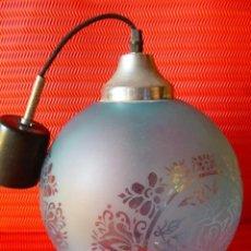 Vintage: LAMPARA GLOBO CRISTAL AZUL 30 CM DIAMETRO. Lote 41100556