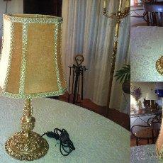 Vintage: LAMPARA CASTELLANA DE BRONCE ANTIGUA - RECICLADA - LISTA PARA SER UTILIZADA. Lote 41235045