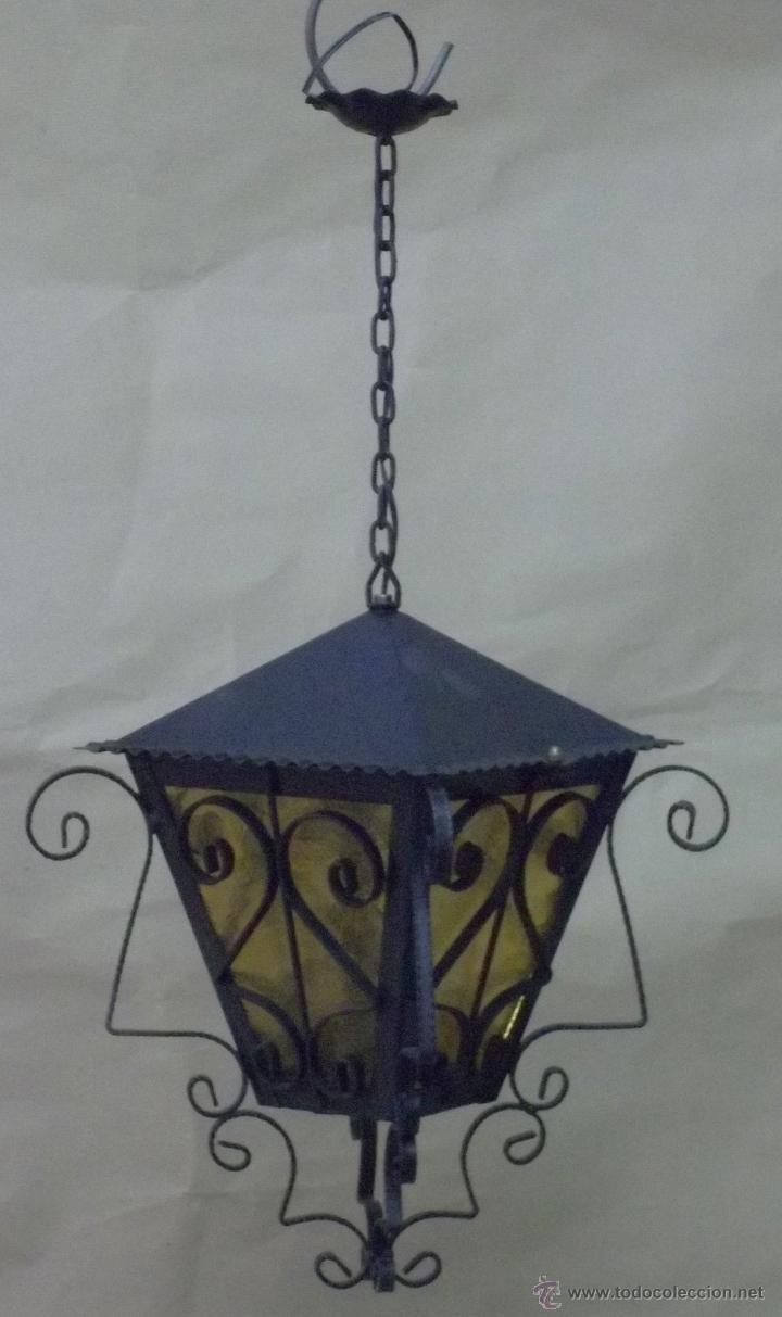 FAROL COLGANTE DE FORJA ARTÍSTICA ARTESANAL (Vintage - Lámparas, Apliques, Candelabros y Faroles)
