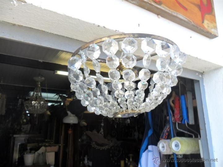 PLAFON DE TECHO DE BRONCE Y CRISTALES (Vintage - Lámparas, Apliques, Candelabros y Faroles)