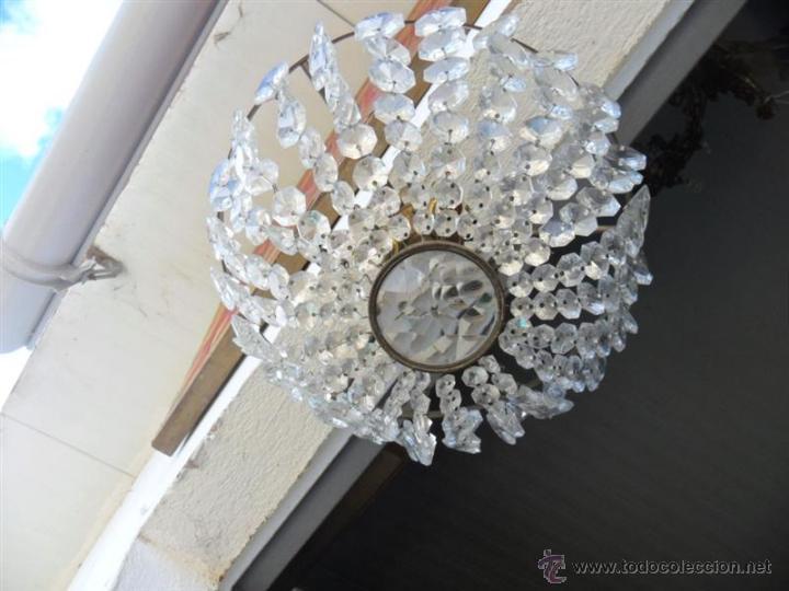 Vintage: plafon de techo de bronce y cristales - Foto 3 - 41724959