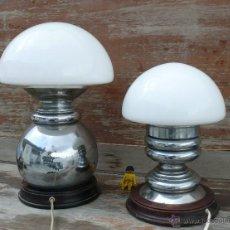 Vintage: GRAN PAREJA DE LAMPARAS ANTIGUAS SETA EN MADERA META Y CRISTAL AÑOS 50 60 . LAMPARA VINTAGE ANTIGUA. Lote 42298071