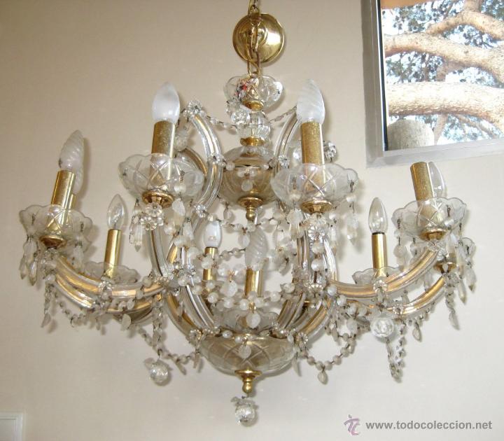 Mega lampara antigua cristal bohemia ara a 10 b comprar - Lamparas de arana antiguas ...