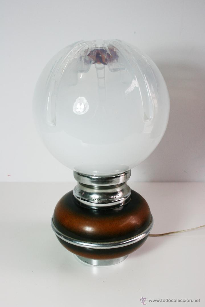 LÁMPARA DE MESA AÑOS 70 TULIPA DE GLOBO DE CRISTAL DE MURANO MAZZEGA (Vintage - Lámparas, Apliques, Candelabros y Faroles)