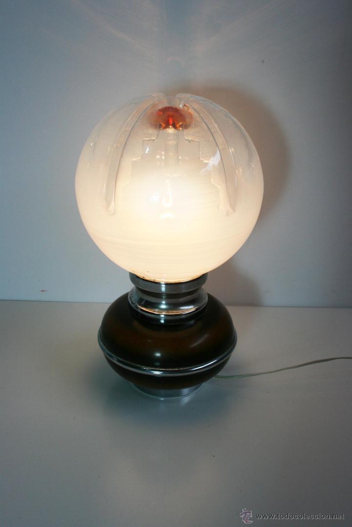 Vintage: Lámpara de mesa años 70 tulipa de globo de cristal de murano Mazzega - Foto 3 - 42829895