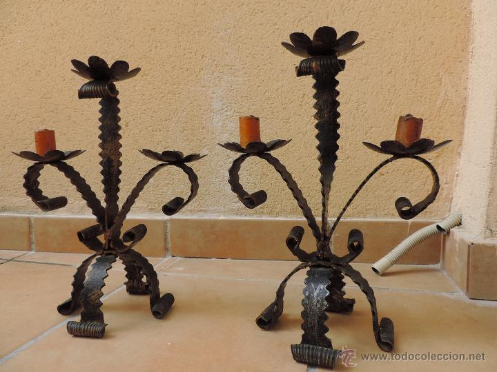 Pareja de candelabros rusticos en forja art sti comprar - Lamparas y apliques rusticos ...