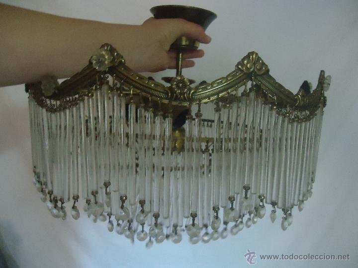 FANTASTICA LAMPARA PARA TECHO DE CHORRILLOS DE CRISTALES Y BRONCE DORADO (Vintage - Lámparas, Apliques, Candelabros y Faroles)