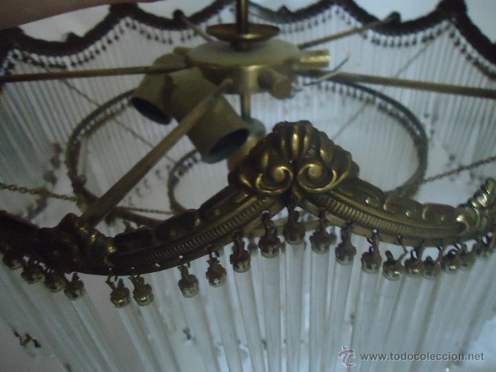 Vintage: FANTASTICA LAMPARA PARA TECHO DE CHORRILLOS DE CRISTALES Y BRONCE DORADO - Foto 2 - 42980128