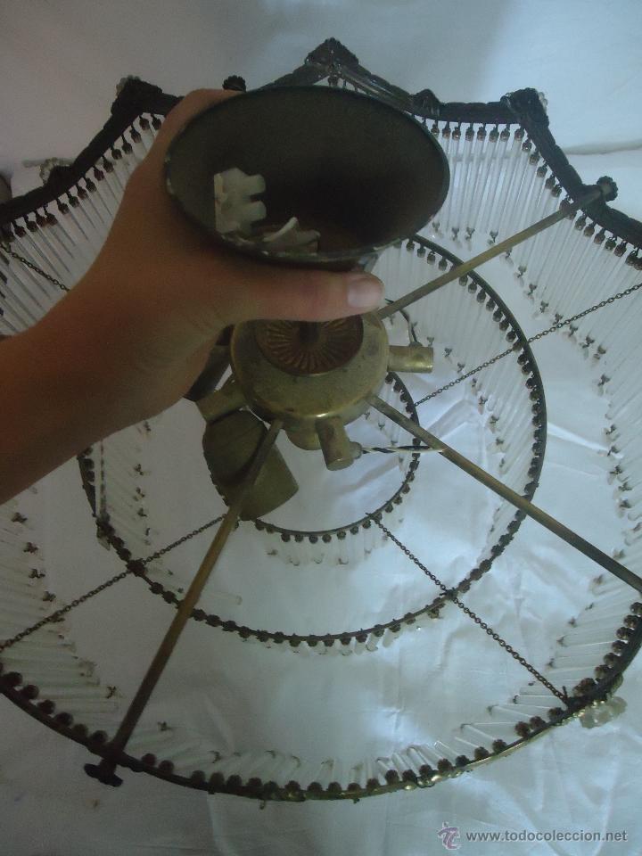 Vintage: FANTASTICA LAMPARA PARA TECHO DE CHORRILLOS DE CRISTALES Y BRONCE DORADO - Foto 4 - 42980128