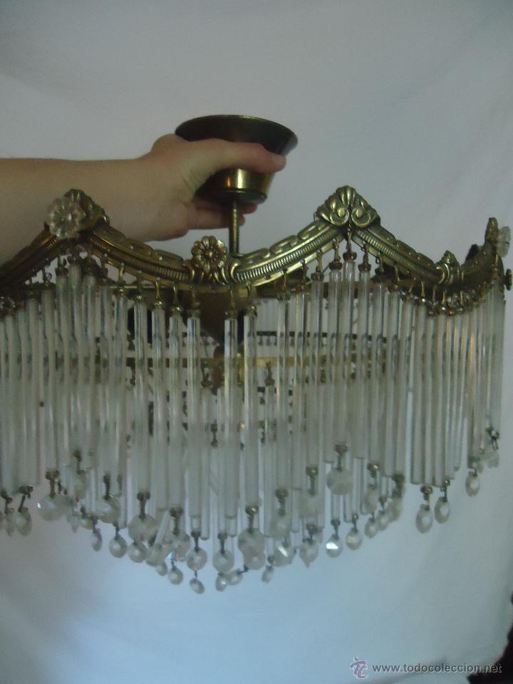 Vintage: FANTASTICA LAMPARA PARA TECHO DE CHORRILLOS DE CRISTALES Y BRONCE DORADO - Foto 5 - 42980128