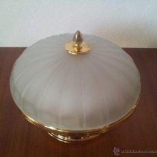 Vintage: PLAFON ALTO . LAMPARA TECHO EN CRISTAL Y ORO. Lote 43089454