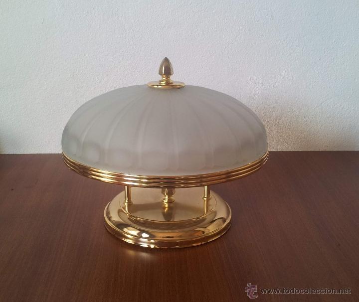 Vintage: PLAFON ALTO . LAMPARA TECHO EN CRISTAL Y ORO - Foto 2 - 43089454