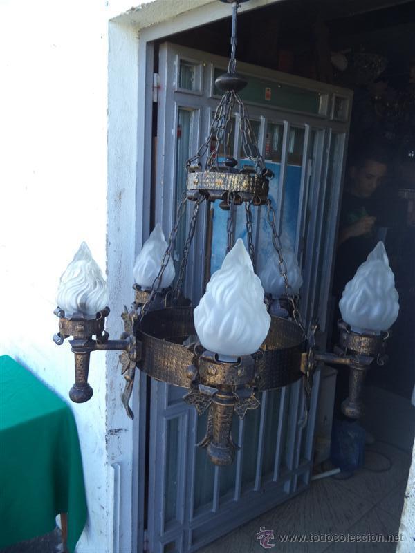 LAMPARA RUSTICA HIERRO (Vintage - Lámparas, Apliques, Candelabros y Faroles)