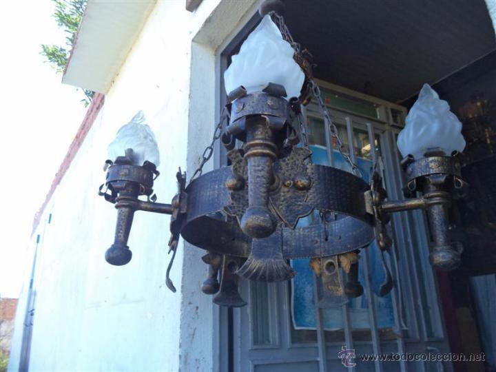 Vintage: lampara rustica hierro - Foto 4 - 43293540