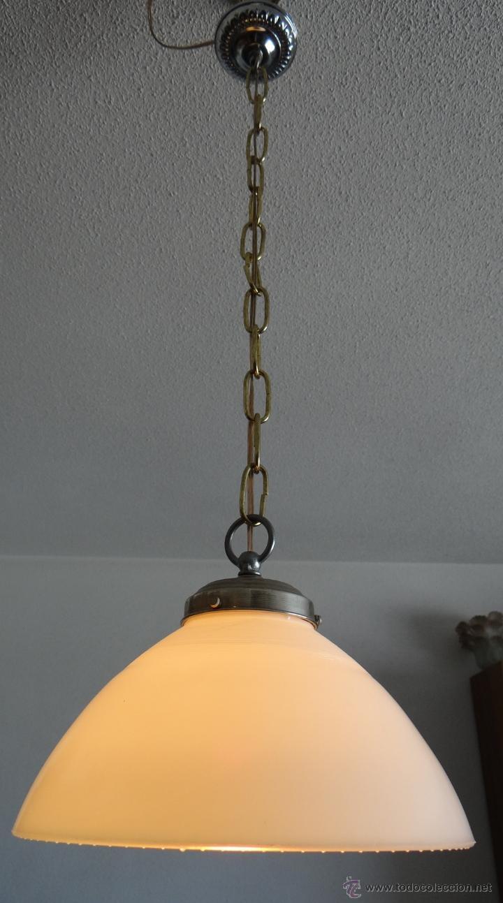Vintage: LAMPARA CON TULIPA DE OPALINA BLANCA - VINTAGE - FUNCIONANDO - - Foto 3 - 43455038