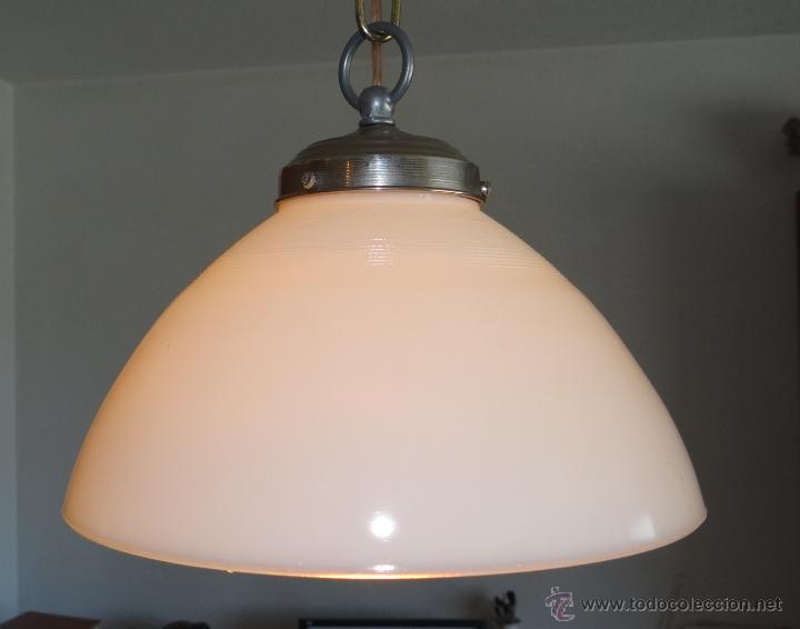 Vintage: LAMPARA CON TULIPA DE OPALINA BLANCA - VINTAGE - FUNCIONANDO - - Foto 4 - 43455038