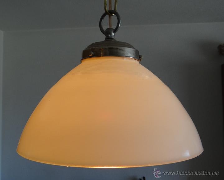 Vintage: LAMPARA CON TULIPA DE OPALINA BLANCA - VINTAGE - FUNCIONANDO - - Foto 5 - 43455038