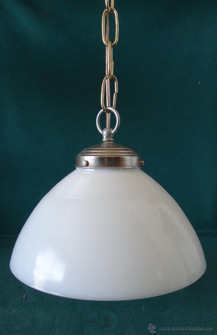 Vintage: LAMPARA CON TULIPA DE OPALINA BLANCA - VINTAGE - FUNCIONANDO - - Foto 6 - 43455038
