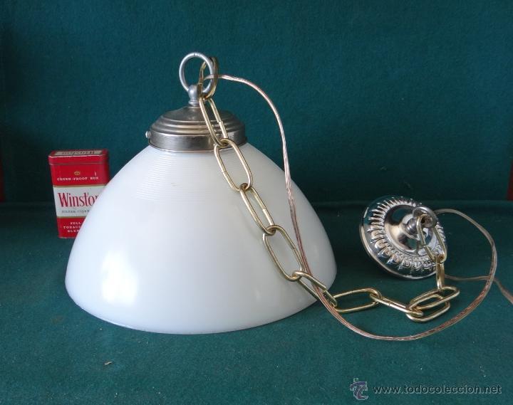 Vintage: LAMPARA CON TULIPA DE OPALINA BLANCA - VINTAGE - FUNCIONANDO - - Foto 8 - 43455038