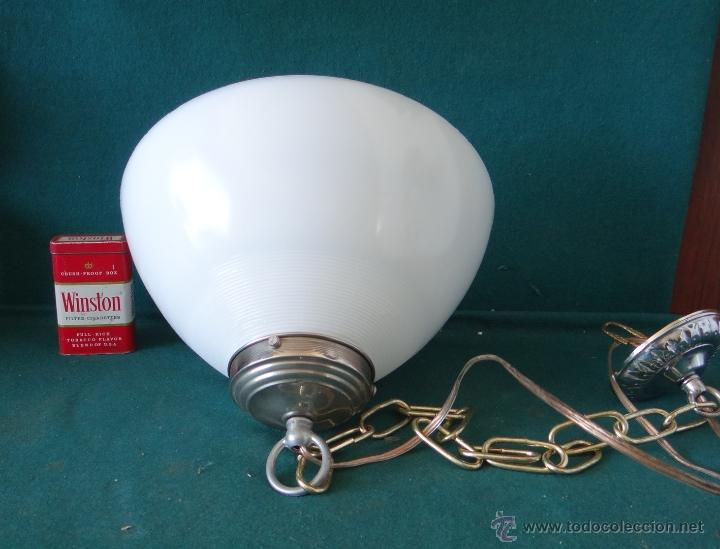 Vintage: LAMPARA CON TULIPA DE OPALINA BLANCA - VINTAGE - FUNCIONANDO - - Foto 9 - 43455038