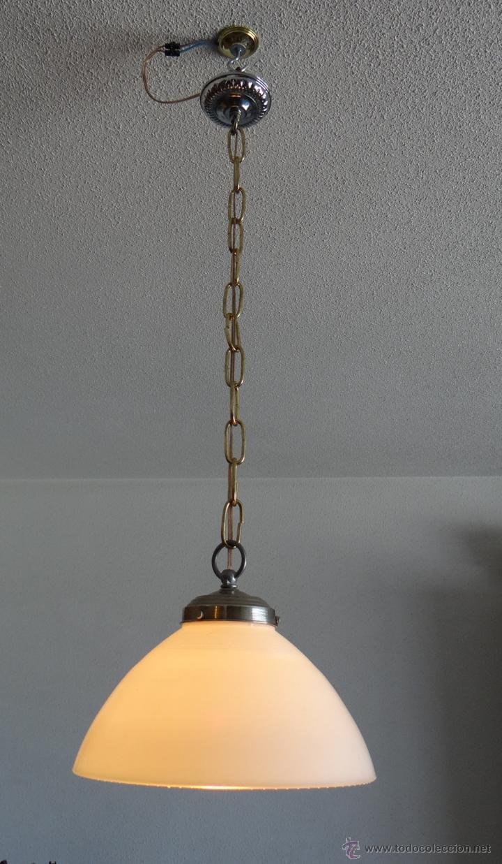 Vintage: LAMPARA CON TULIPA DE OPALINA BLANCA - VINTAGE - FUNCIONANDO - - Foto 11 - 43455038