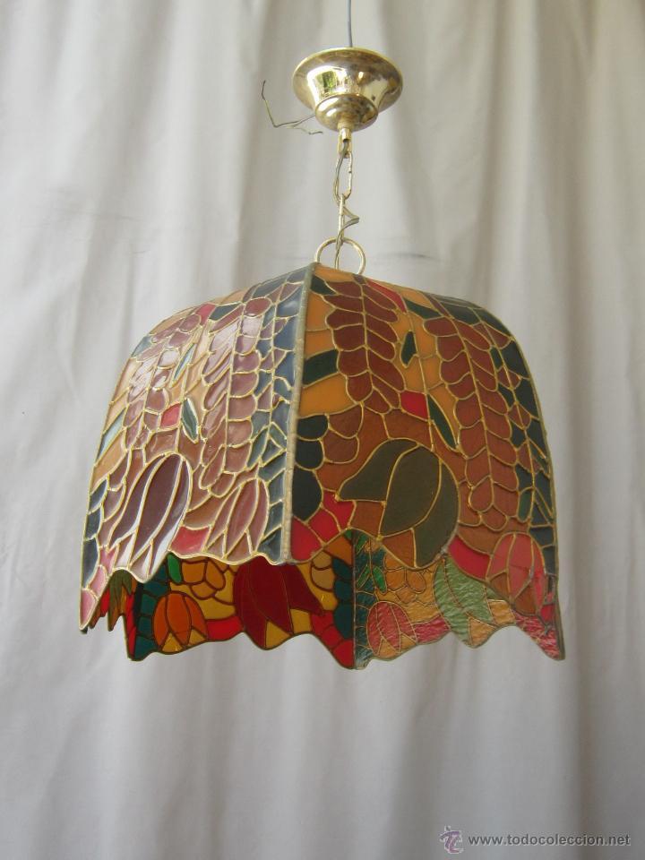 LAMPARA DE TECHO TIFFANY (Vintage - Lámparas, Apliques, Candelabros y Faroles)