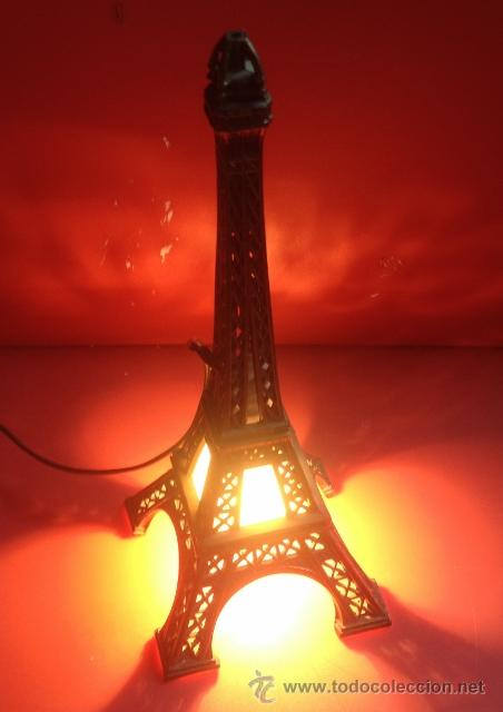 Vintage: LAMPARA TORRE EIFFEL VER FOTOGRAFIAS ENCENDIDA - Foto 2 - 43570654