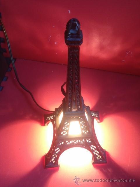 Vintage: LAMPARA TORRE EIFFEL VER FOTOGRAFIAS ENCENDIDA - Foto 4 - 43570654