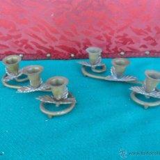 Vintage: PAREJA DE CANDELABROS METAL. Lote 43729345