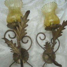 Vintage: LAMPARA APLIQUES MID CENTURY EN HIERRO FORJADO CON HOJAS IDEAL ACOMPAÑAR ESPEJO SOL VINTAGE 70. Lote 43866174