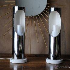 Vintage: PAREJA DE LAMPARAS SPACE AGE CROMADAS. FASE ? METALARTE ? AÑOS 70 VINTAGE. Lote 44007800