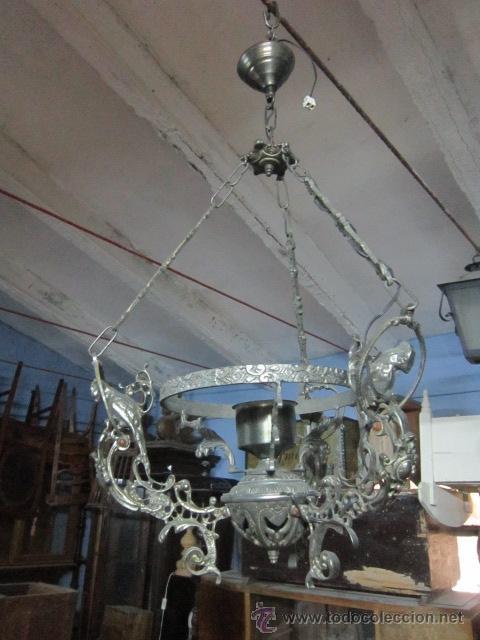 LÁMPARA VOTIVA REALIZADA EN CALAMINA. (Vintage - Lámparas, Apliques, Candelabros y Faroles)