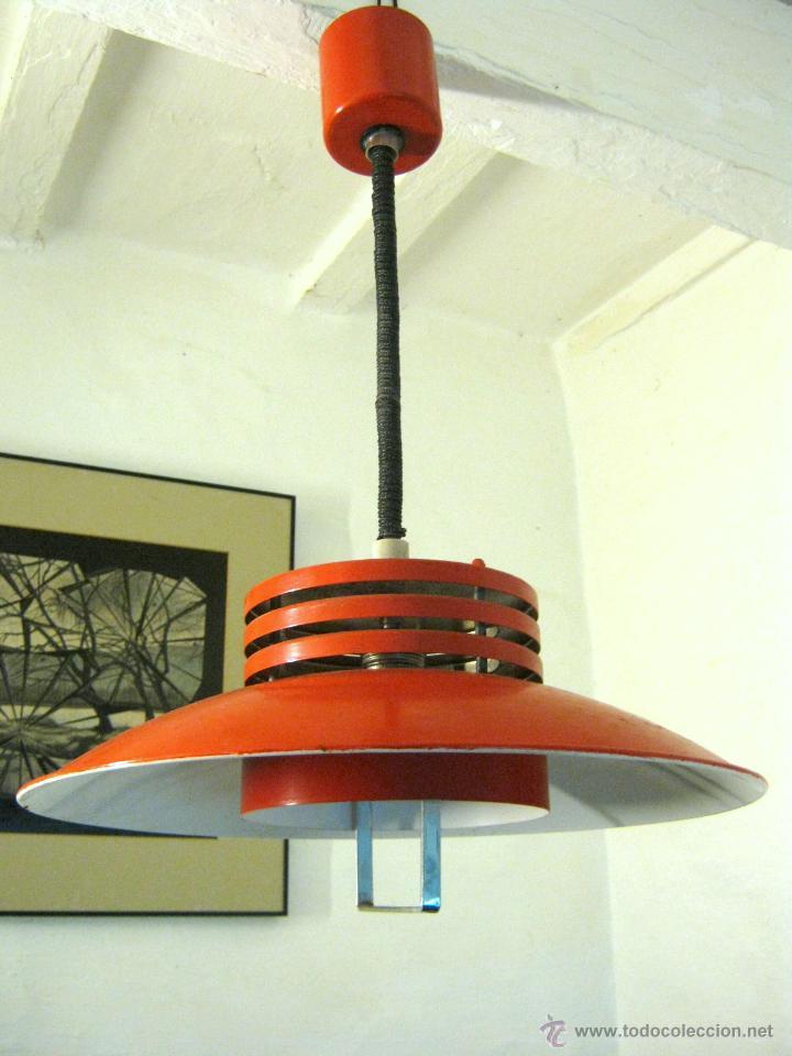 Gran vintage lampara Original sube industrial retro baja roja space y H2W9eEDIY